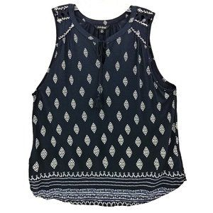 Lucky Brand Blue-Black Sleeveless Blouse Tassels